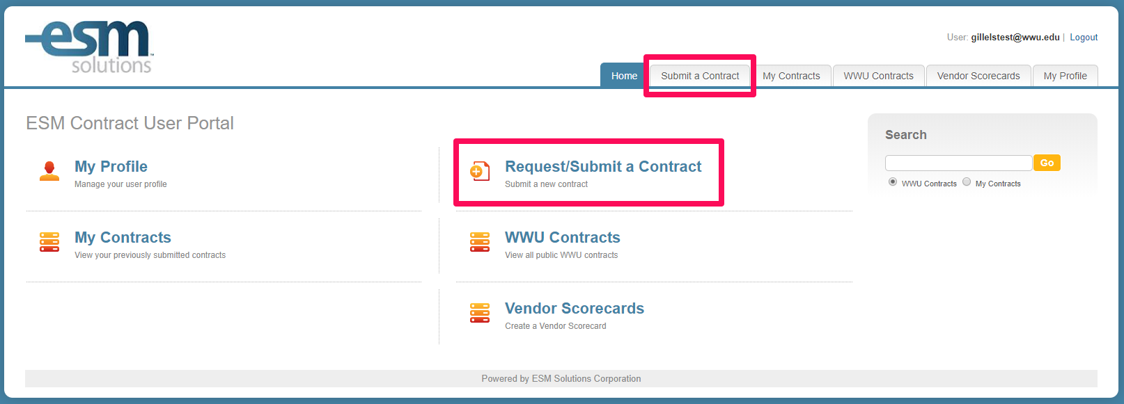 Screenshot of the CMM Submit a Contract areas