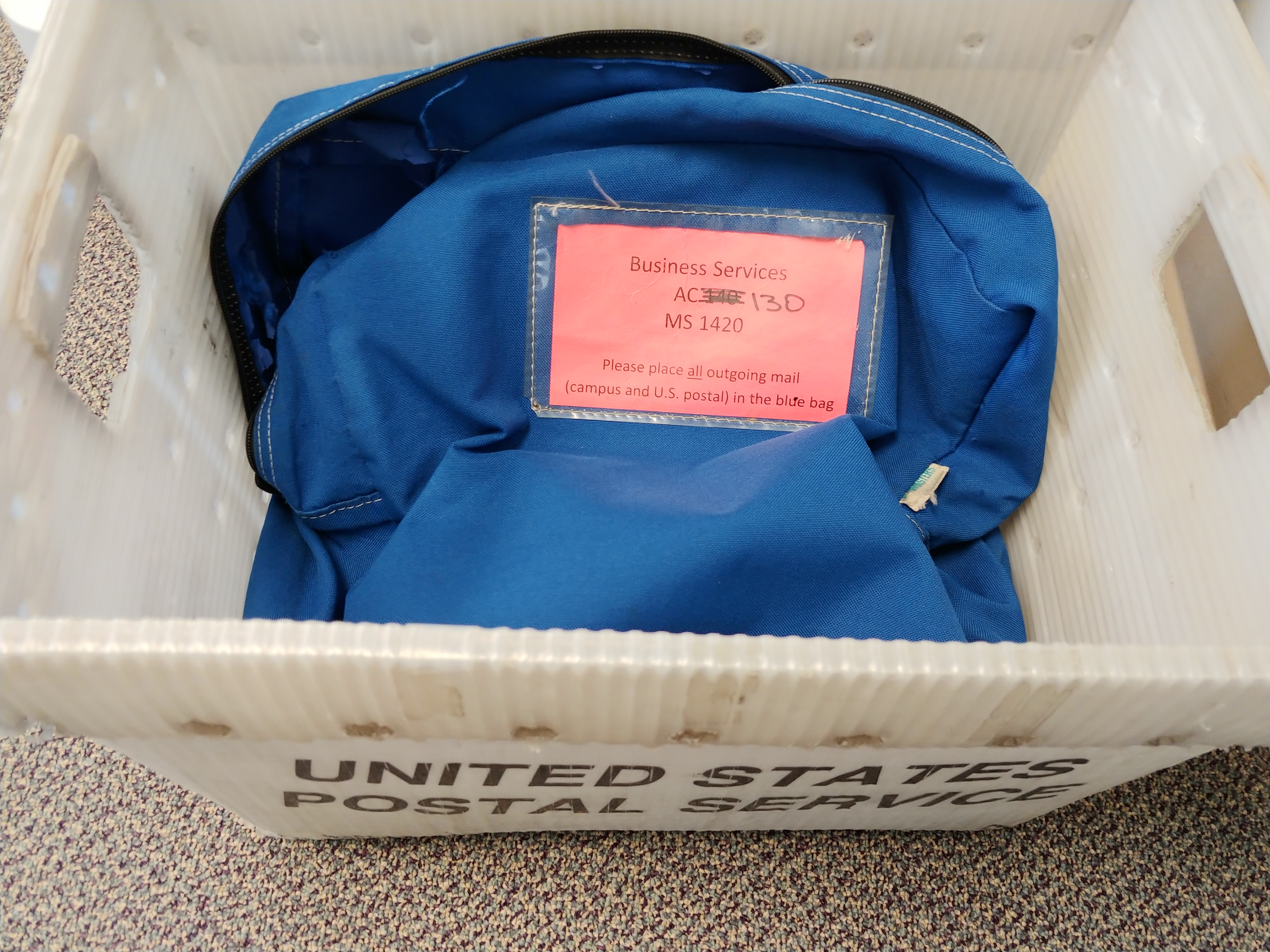 Example of the blue bag for campus mail collection