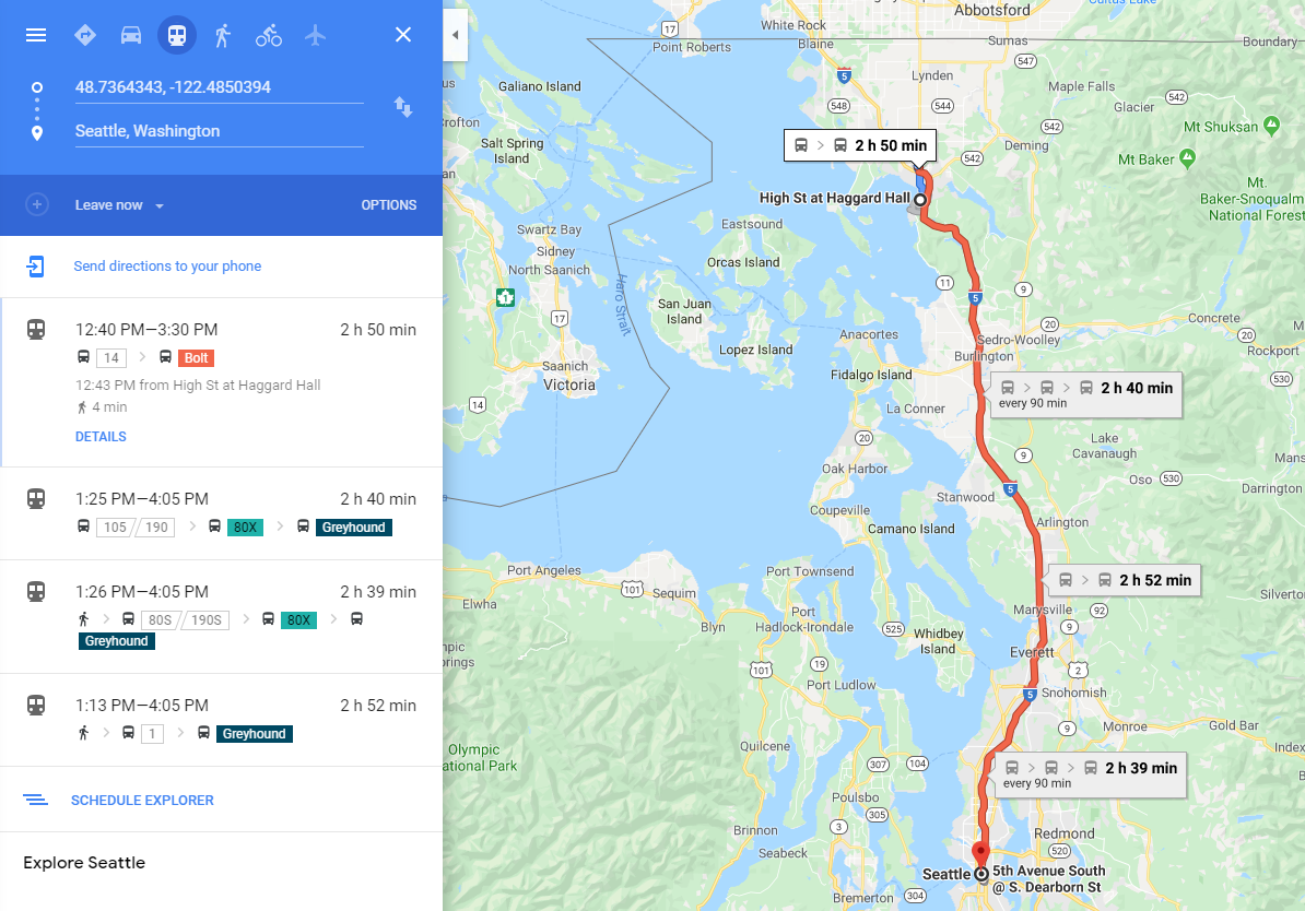 Map of Bellingham to Seattle via Transit Network